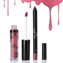 Women Beauty lip gloss lip line pen set matte non-stick cup liquid lip pen long-lasting waterproof mouth red mute lips makeup