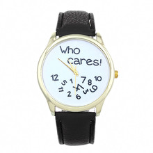 Cheap Watches For Women Vogue who cares Anyway Letters Print Quartz Watch Men Dress Hour Clock