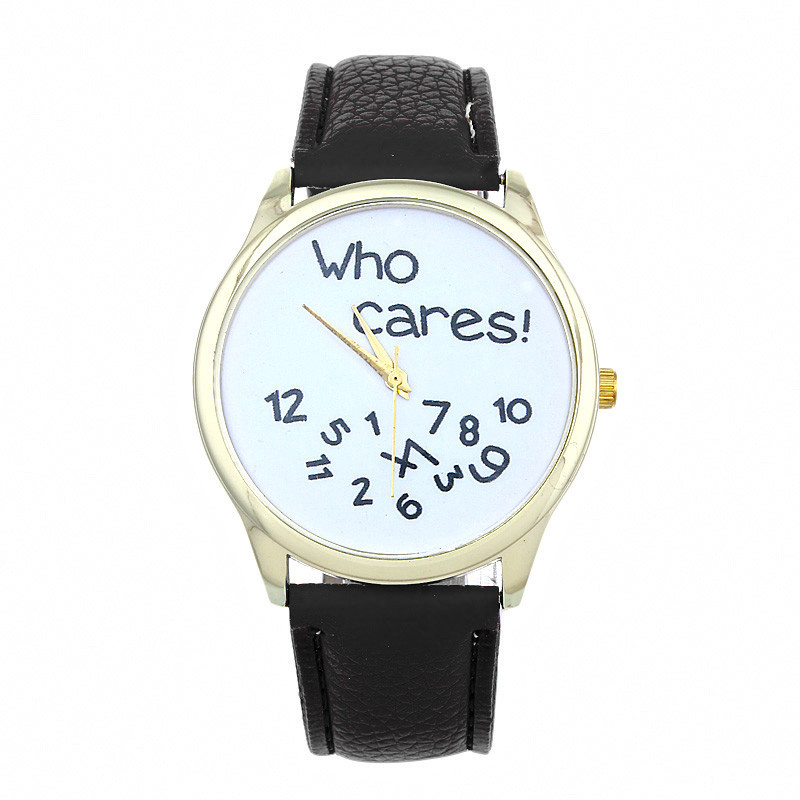 Cheap font b Watches b font For Women Vogue who cares Anyway Letters Print Quartz font