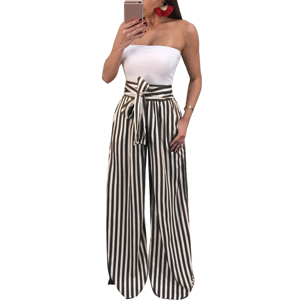Women Loose   Pants   Contrast Stripes Print High Waist Straight   Wide     Legs     Pants   Ladies Bow Tie Casual Trousers Female Party Wear