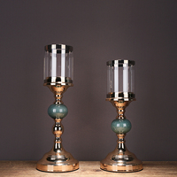 Nordic gold candle holders candelabra wedding centerpieces for tables Candlestick glass candle holder candles home decoration