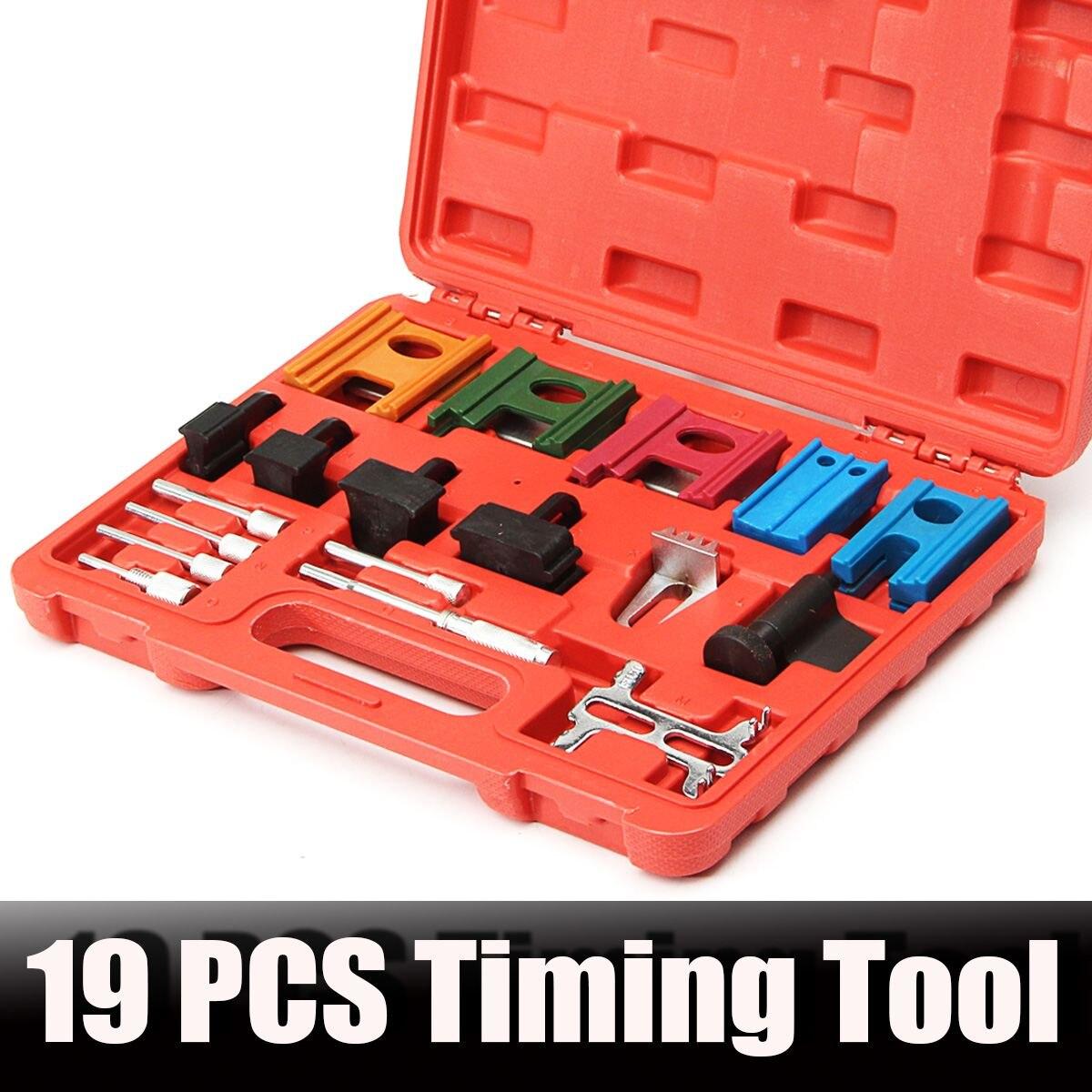 19Pcs Engine Universal Pulley Timing Belt Camshaft Flywheel Locking Tool Set Kit