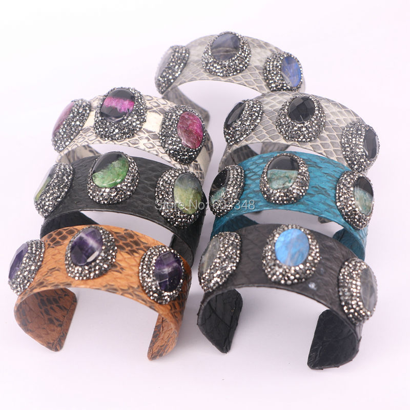 5pcs Fashion Newest Design Leather Stone Bangles Genuine Snakeskin Wrapped Leather Crystal Pave Stone Bangles