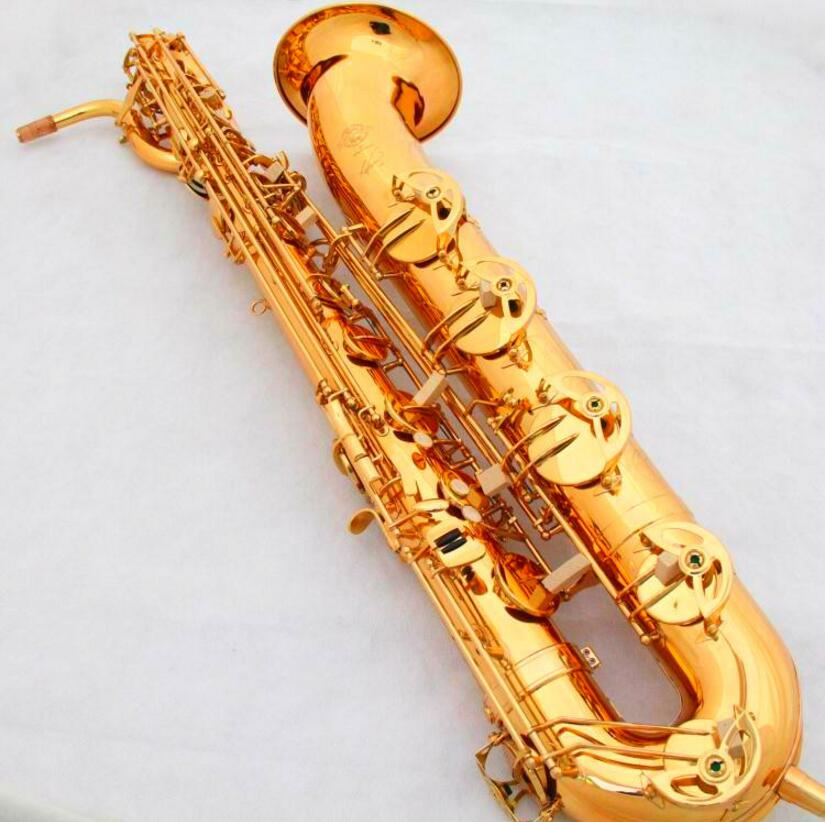 France Selmer Baritone Saxophone Gold Lacquer Carving 54 Professional Eb Sax Mouthpiece Sax saxophone #60 Saxogfone france henri selmer bb tenor saxophone instruments reference 36 drop b saxophone surface gold lacquer pink body professional sax
