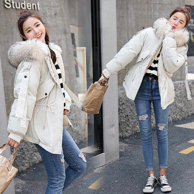 Winter Women   Parkas   Thicken Warm Collect Waist coats Big fur collar Hooded Casual Solid winter Cotton padded Jackets 3XL