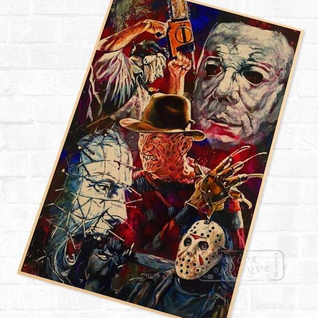 Pop Horror Character Collage Film Vintage Retro Kraft Poster