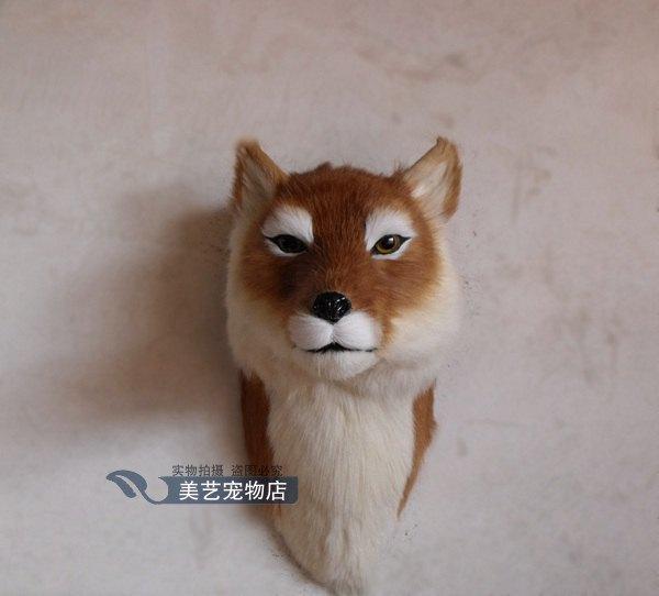 simulation cute fox head 20x48x40cm toy model polyethylene&furs fox model home decoration props ,model gift d163 simulation cute squatting fox 35x28x26cm model polyethylene