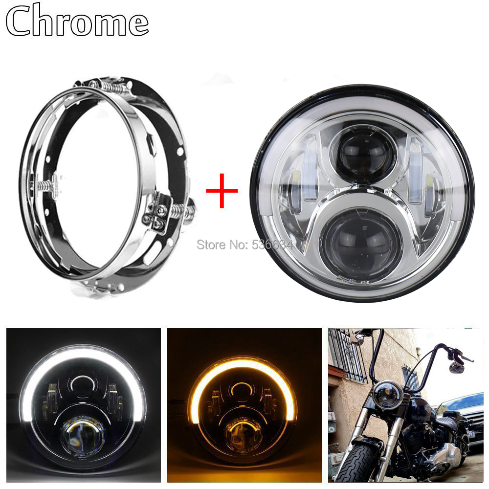 7Inch LED Round Projector Headlight Halo Hi/Low H4+7inch Headlight Mounting Bracket Ring For Harley Davidson Heritage Softail бомберы шалуны бомбер