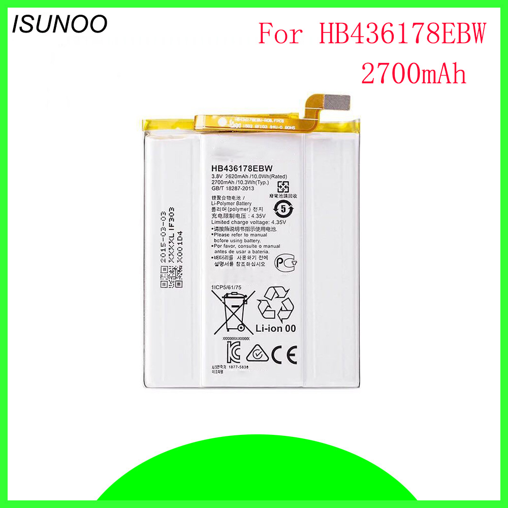 ISUNOO HB436178EBW Mobile Phone Replacement Li-Polymer Battery Bateria 2700mAh For HUAWEI Mate S CRR-CL00 CRR-UL00 Batterie Batt