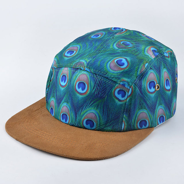 2016 new printing feathers five 5 panel hat quality strapback snapback cap baseball hats for men women hip hop brand bone gorras