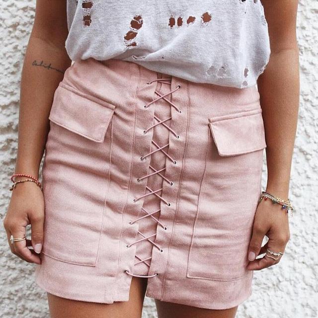 2016 Mujeres Otoño de Gamuza Suave Falda Lace Up Vintage Gris delgado de Cintura Alta Faldas Cortas de Color Rosa de Invierno Negro Lápiz Bodycon falda