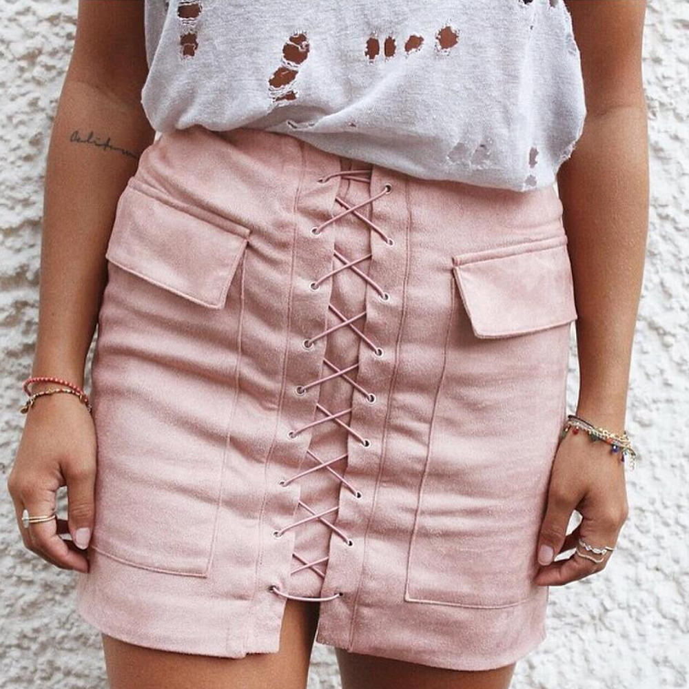 Nadafair Women Autumn Soft Suede Skirt Lace Up Vintage Gray Slim High Waist Pink Short Skirts