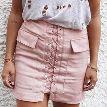 Nadafair Women Autumn Soft Suede Skirt Lace Up Vintage Gray Slim High Waist Pink Short Skirts