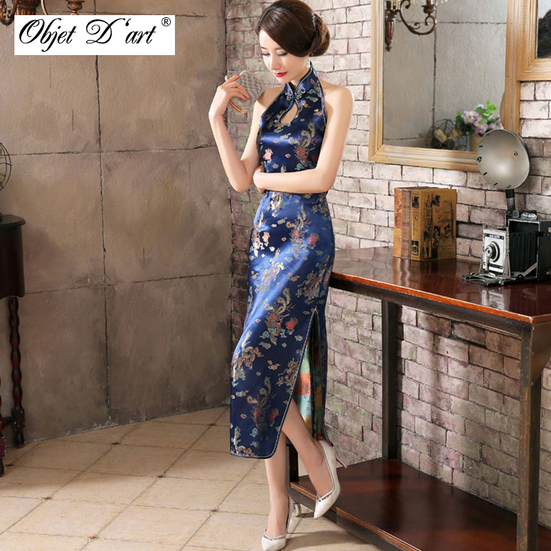 0be7eb048a9 Sexy Sleeveless Cheongsam Backless Vintage Embroidery Women s Silk Satin  Chinese Traditional Dress Elegant Long Classical Qipao