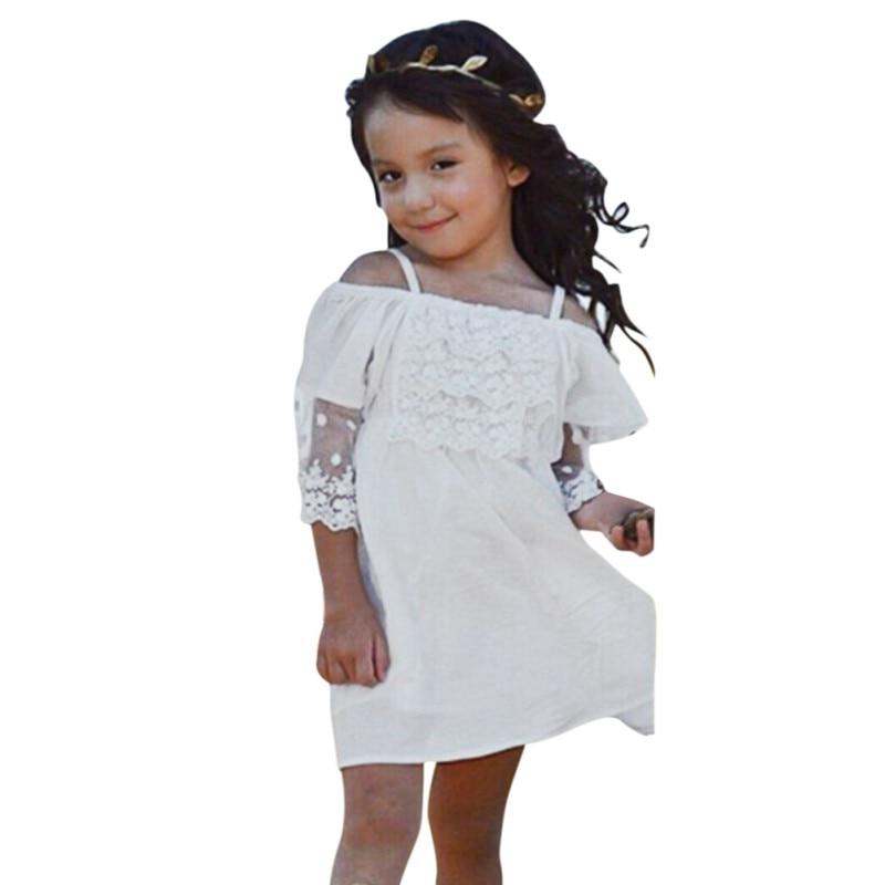 Baby Child Girls Pageant Lace Off-shoulder Dress Kids Shoulderless Party Wedding Formal Dress 2-7Y