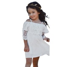 Baby Child Girls Pageant Lace Off-shoulder Dress Kids Shoulderless Party Wedding Formal Dress 2-7Y