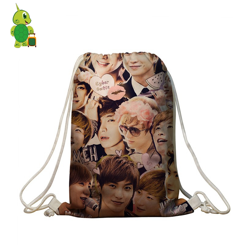 Detail Feedback Questions about Kpop Super Junior Backpack Leeteuk Overlay  Printing Drawstring Bag Boys Girls School Bags Travel Softback Kids Daily  Book ... c485e9ac3a595