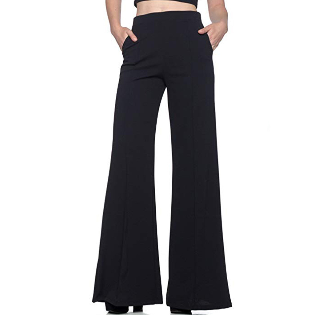 Women's High Waist Solid Loose   Wide     Leg     Pants   Long Trousers Flowing Palazzo Cargo   Pants   Women Pantalon Femme Mujer #L5