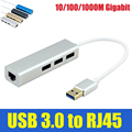 Binmer usb 3.0 con conector rj45 10/100/1000 m gigabit ethernet de red lan card adapter + 3 puerto hub para macbook windows 10