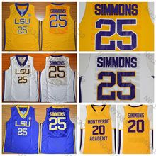 Top Quality  25 Ben Simmons Jersey Throwback Blue White Yellow Stitched Ben  Simmons College Basketball de08a19d0