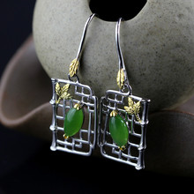L&P Vintage Gemstone Thai 925 Silver Natural Jade Wedding Drop Earring 925 Sterling Silver Statement Earrings Women Jewelry