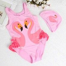 Новая купальная Одежда для девочек милый детский купальный костюм с шапкой для плавания с лебедем и фламинго, купальный костюм для маленьких девочек одежда для плавания для детей
