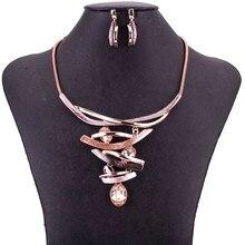 MS1505077 розовое золото ожерелье серьги набор колье ожерелье кристалл кулон высокое качество свинец и никель бесплатно Свадебные Ювелирные изделия Новое поступление
