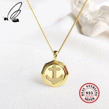 цена Anchor Pendants Necklaces 925 Sterling Silver Gold Color AAA CZ Bohemian Necklace Long Collana Donna Joias Feminina Jewelry Gift онлайн в 2017 году