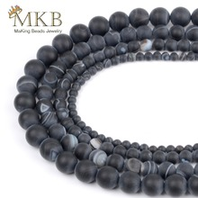 Dull Polish Matte Black Banded Agates Natural Stone Beads For Jewelry Making 4 6 8 10 12mm Round Accessories Perles Bijoux