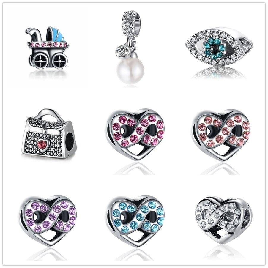 Charm Silver Plated Bead Pram Eyes Handbag Infinity Heart Fit Pandora Charms Beads Bracelet Pendants Diy Original Jewelry Gift Beads