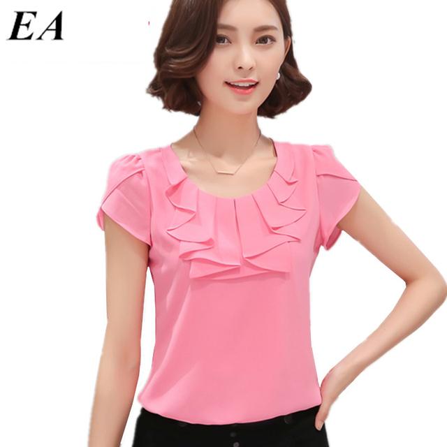 Mulheres Camisas Blusas de escritório Branco Rosa Roxo Elegante Das Senhoras Blusa de Chiffon de Manga Curta Das Mulheres Encabeça Chemise Femme DT235