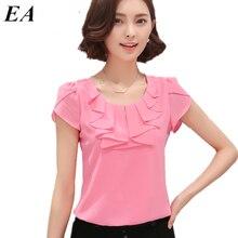 Mulheres Camisas Blusas de escritório Branco Rosa Roxo Elegante Das Senhoras Blusa de Chiffon de Manga Curta Das Mulheres Encabeça Chemise Femme DT235(China (Mainland))