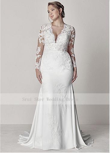 Modest V-Neck Lace Wedding Dresses Long Sleeve Illusion Appliques Mermaid Plus Size Bridal Gowns 2019 3