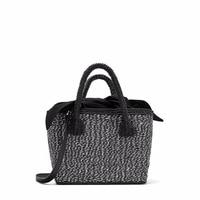 Famous Brand Design Black Straw Bags Zebra Pattern Women Summer Shopping Single Shoulder Bags Handbag 2018 Sac a main