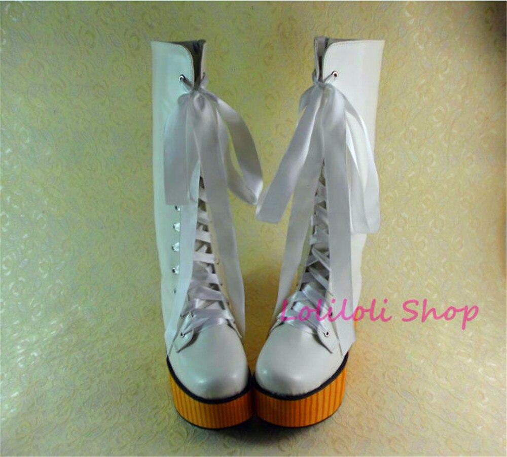 Princess sweet lolita shoes Lolilloliyoyo antaina Japanese design shoes custom white bright skin thick grain bottom boots 9999