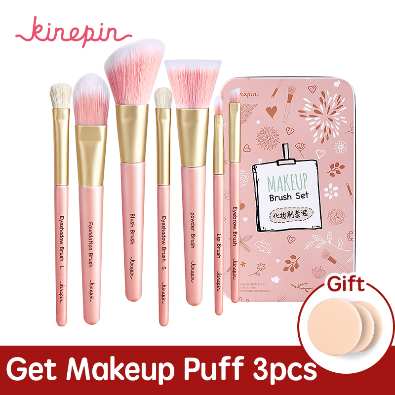 KINEPIN Premium Makeup Brush Set High Quality Soft Natural Horse Pony Synthetic Hair Portable Makeup Artist Brush with Case free shipping 9 pcs brush set with mirror in brush box high quality soft goat hair and pony hair