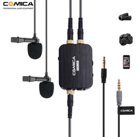Comica CVM D03 Dual Lavalier Lapel Microphone with Mono/Stereo Clip on Interview Microphone for Cameras Camcorders& Smartphones