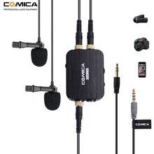 Comica CVM D03 podwójny Lavalier mikrofon w klapie z Mono/Stereo Clip on mikrofon do kamer kamery i smartfonów