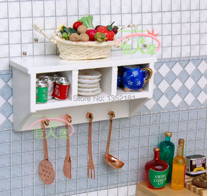 1 12 Cute Dollhouse Miniature Kitchen Mini Multi Function Cupboard Wall Cabinet With Hook