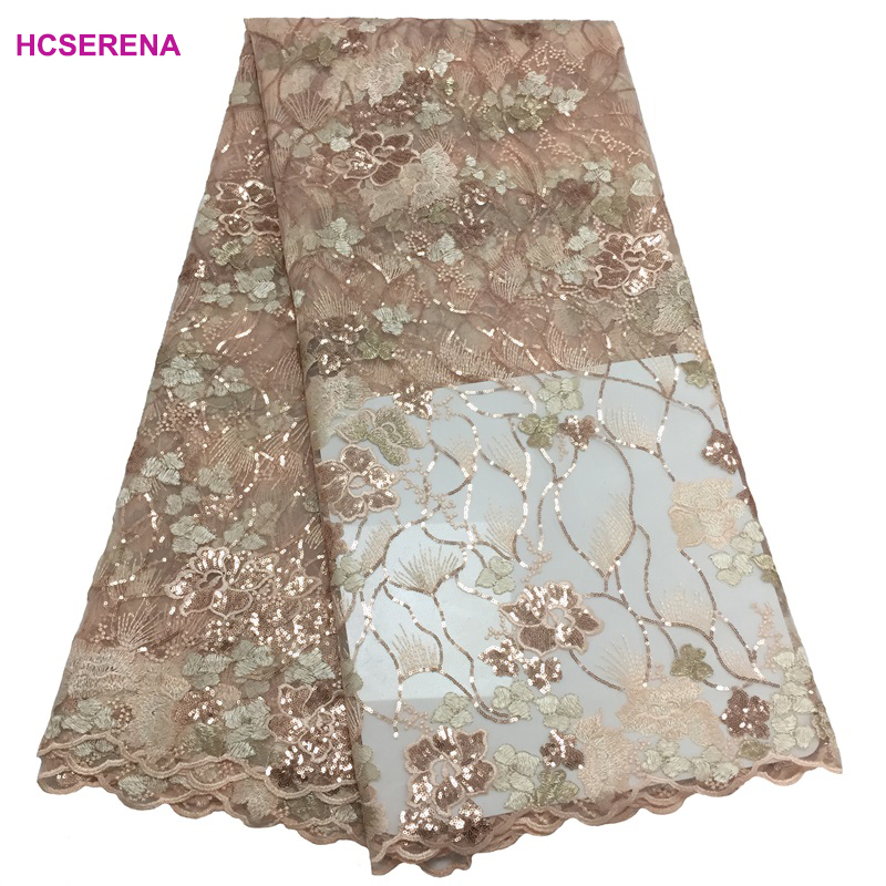5yards lot high quality nigerian french lace embroidered tulle lace fabric for wedding dress 2019 Russia