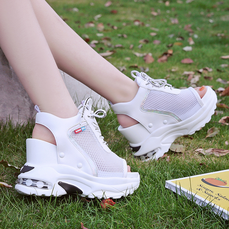 New Arrival 2019 Summer Platform Sandals Women 10 CM Wedges Thick Bottom Casual Shoes Comfortable White Lace-Up Sandals Sneakers