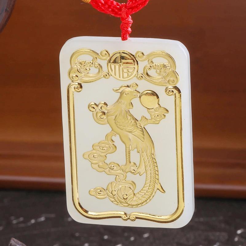 Naturel HeTian Yu 100% Phoenix chanceux amulette pendentif collier certificat bijoux fins/