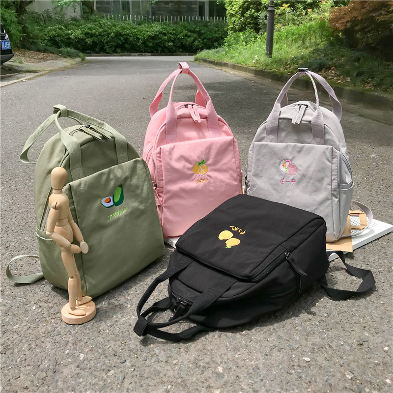 Image 5 - Menghuo New Fruit embroidery Women Backpack Little Fresh Waterproof Nylon Solid Color Shoulder Bag Girls Schoolbag for Teenagers-in Backpacks from Luggage & Bags