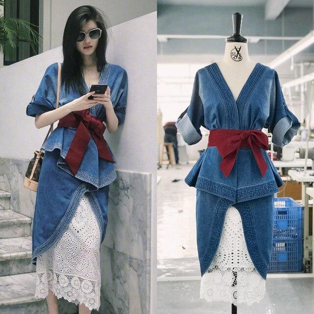 Wholesale & Retail 2018 Custom Size Summer V-neck Sexy Irregular Two-piece Denim Dress + Hollow Skirt  Women Set Free Shipping