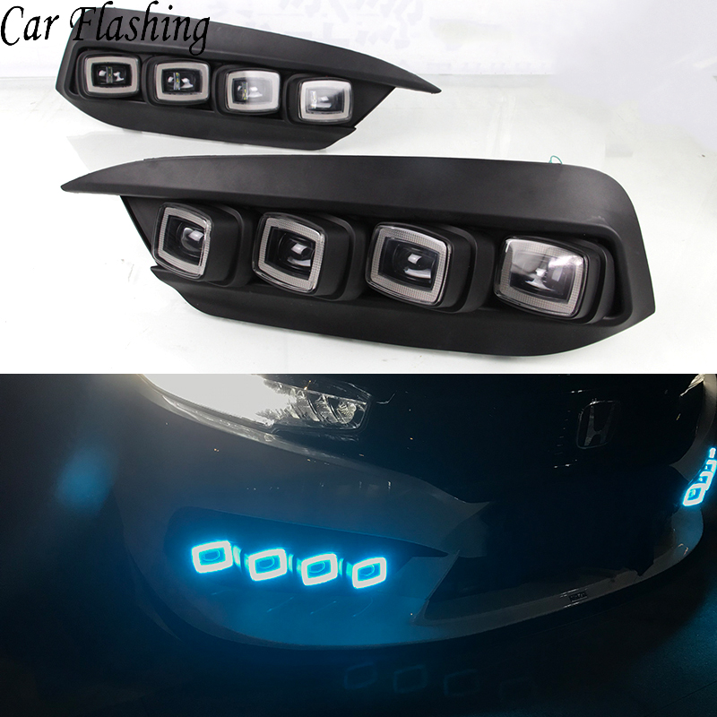 Car Flashing 2Pcs Car LED DRL daytime running light for Honda Civic 2017 2018 Daylight with