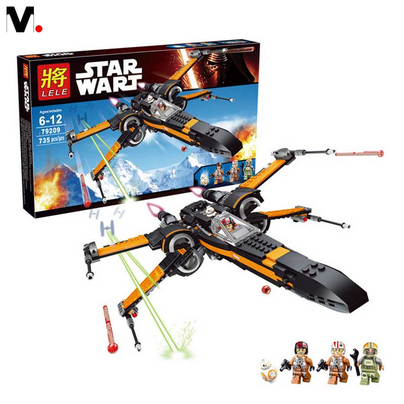 2016 New Children assembled puzzle blocks early baby toy Star Wars Red Poe X wing 735pcs big zise blocade ru bun lock children puzzle toy building blocks