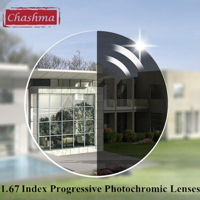 Chashma Marque Plus Mince Verifocal Transition 1.67 Index Intérieur Multifocale Sauvage Domaine Lentilles Photochromiques Verres Progressifs
