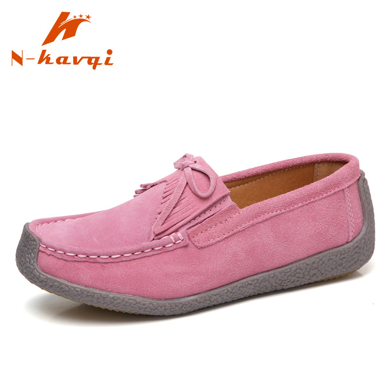 NKAVQI Spring Women Flat Platform Shoes Sneakers Ladies   Leather     Suede   Casual Shoes Women Fashion Slip on Flats Heels Moccasins