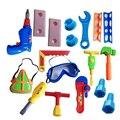 18 unids/set educativos juguetes de plástico bebé de carpintero herramientas de jardín kit de herramientas de juguete para niños herramientas de carpintero construcción