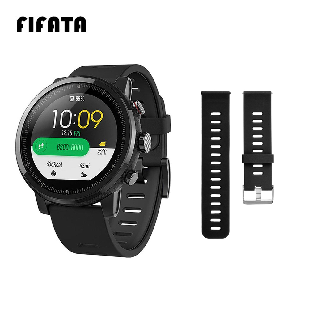 FIFATA 22mm Strap For Xiaomi Huami Amazfit Pace Stratos 2 Strap Dual-color Silicone Bracelet For Amazfit 1/2s Smart Watch